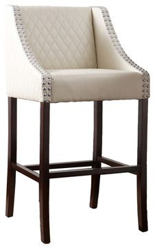 Filton Quilted White Leather Barstool - modern - bar stools and counter stools - Great Deal Furniture