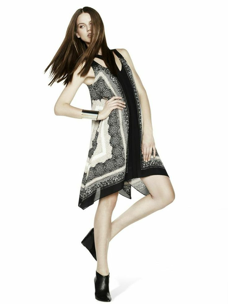 #BCBG #Spring2014 #fashion #model #bonchic #black #white #dress #wedges #booties