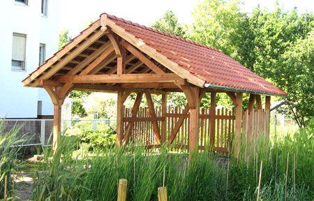 Gartenpavillon Fachwerk im Lehr- und Lerngarten des Tropengewächshauses der Universität Kassel, Witzenhausen