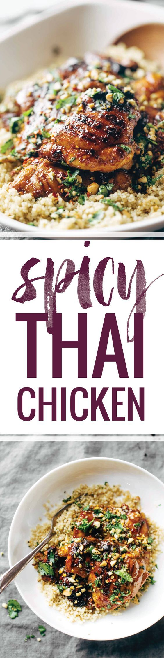 Spicy Thai Chicken and Quinoa, made with chili sauce, agave, lime juice, garlic, cilantro, and peanuts! Sticky, saucy, and delicious. | pinchofyum.com: