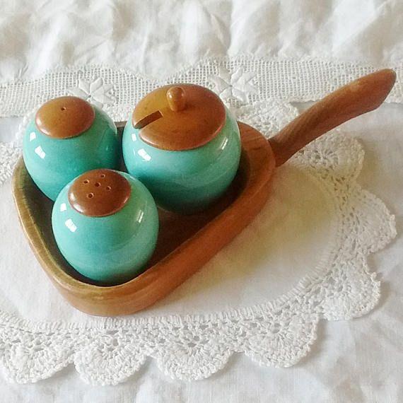 Cruet set salt pepper and mustard pot on wooden tray Made in