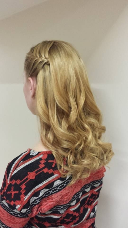 GHD curls with french plaiting at the sides