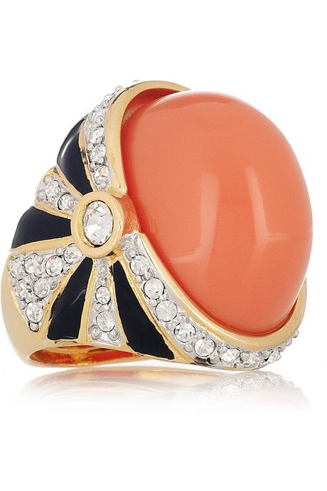 Kenneth Jay Lane 22-karat gold-plated resin and crystal ring New but awesome