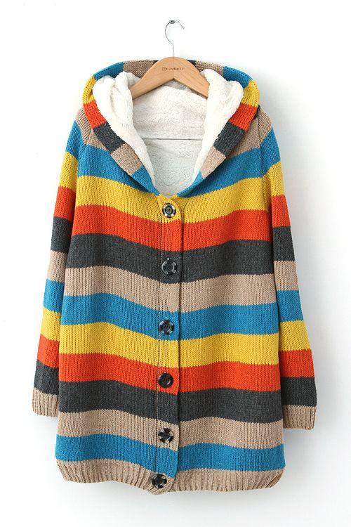 Hat Collar Stripe Sweater