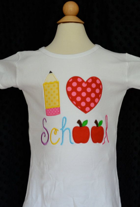 Personalized I Heart School Applique Shirt or Onesie Girl or Boy on Etsy, $25.00