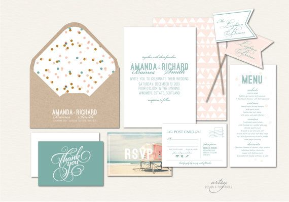Vintage Style Beach Seaside Beach Wedding Invitation Ensemble with a muted color scheme of sea green and bluch pink by ArtsyDesignCo.