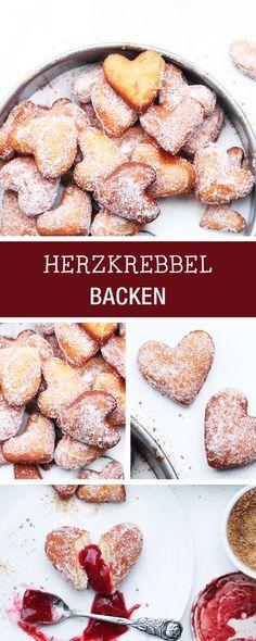 Süßes Rezept für den Valentinstag: Krebbel backen in Herzform / recipe for fried pastries in shape of a heart, romantic dinner via DaWanda.com