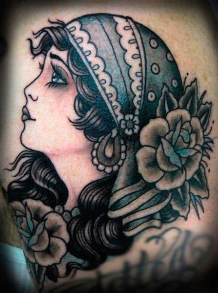 gypsy girlFoxes Tattoo, Tattoo Gypsy, Gypsy Head Tattoo, Girls Tattoo, Tattoo Flash, Black And White Gypsy Tattoo, Rose Tattoo, A Tattoo, Gypsy Tattoo Head