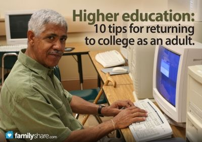 Returning to college as an adult requires a major transition. These 10 tips will help facilitate this transition as you or your spouse returns to school for career advancement or a new career.