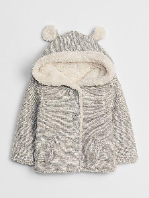 d8b578178 Gap Babies  Sherpa-Lined Garter Sweater Light Grey Marle