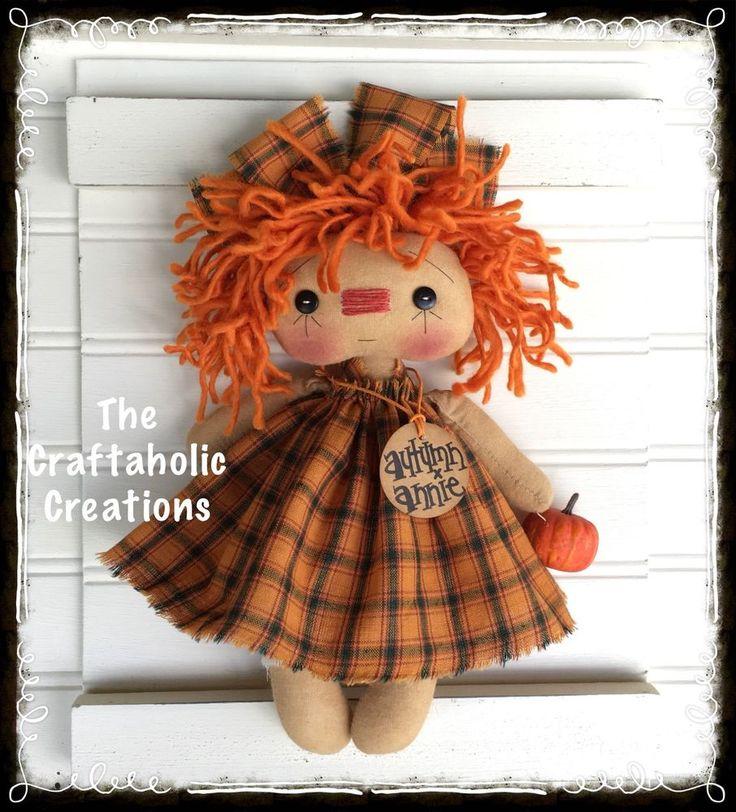 * Primtive RAGGEDY ANN doll ragdoll AUTUMN ANNIE fall pumpkin ~ CUSTOM ORDER #NaivePrimitive