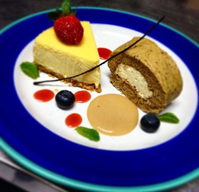Yuzu Cheese Cake,Milk Tea Roll Cake with Milk tea & Raspberry Sauce