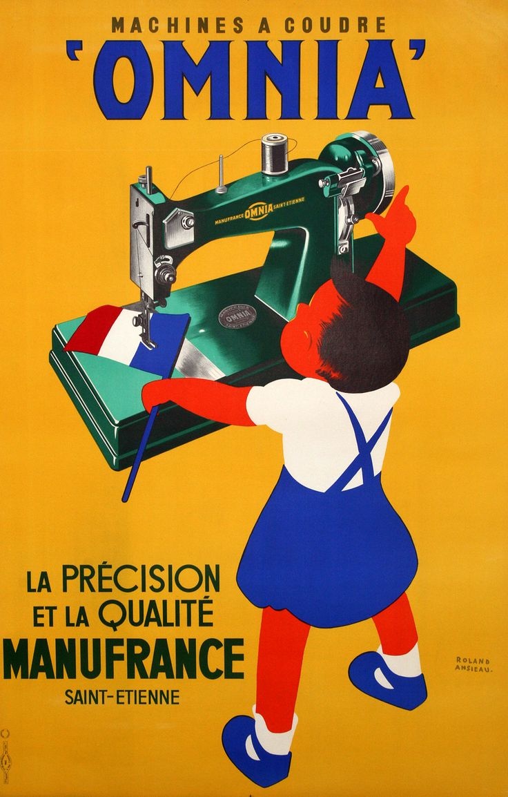 Poster design 1950 - Omnia Sewing Advertisement By French Poster Artist Ansieau This Vintage Poster Is From The