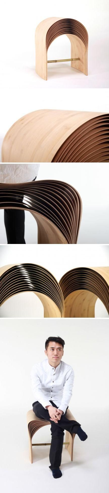 "The Hangzhou Stool - by Atelier Chen Min - consists of many layers of bamboo veneer. Each veneer is made of several ultra thin bamboo layers, aligned vertical to each other. Each veneer becomes not only very flexible but also robust. The layers give a very special ""arc"" of the stool, just like the ripples on the water surface. When sit, the more weight the stool receives, the deeper the arc will be bent, and therefore the more elasticity the user will feel. www.chen-min.com"