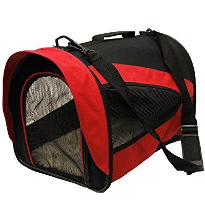 Mool Lightweight Fabric Pet Carrier Crate with Fleece Mat and Food Bag, 43 x 28 x 29 cm - Red