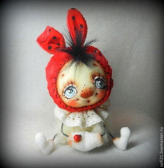 Коллекционные куклы ручной работы. Ярмарка Мастеров - ручная работа. Купить Зайка-обожулька). Handmade. Ярко-красный