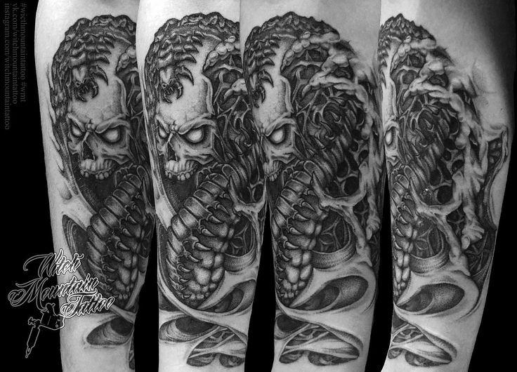 skull \ tattoo \ art \ centipede \ monster