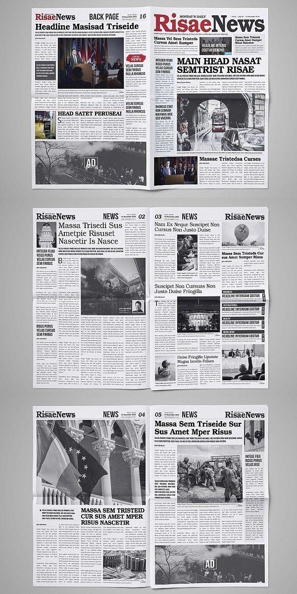 30 Professional Indesign Newspaper Templates Grafik Tasarim