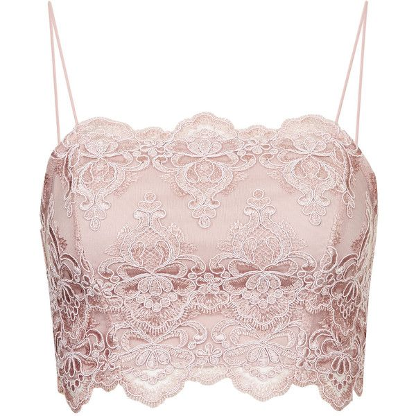 TOPSHOP Deco Lace Bralet ($48) ❤ liked on Polyvore featuring tops, crop tops, blusas, bralets, blush, crop tank, strappy crop top, bralette crop top, strappy tank top and crop top
