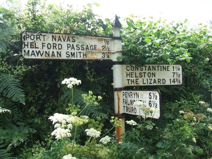 Signposts nr Helford Passage in Cornwall