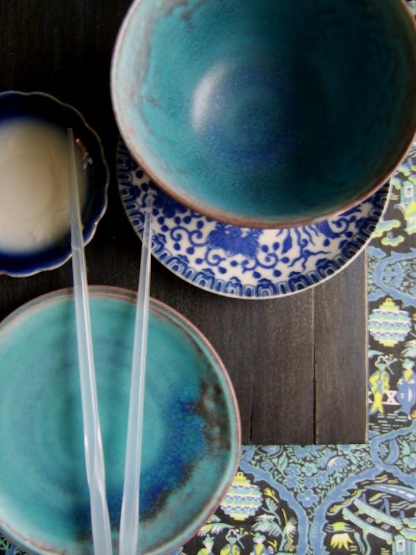 asian blue pottery