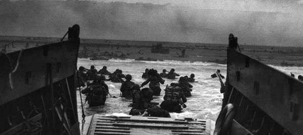 Omaha Beach during the D-Day invasion. National Archives