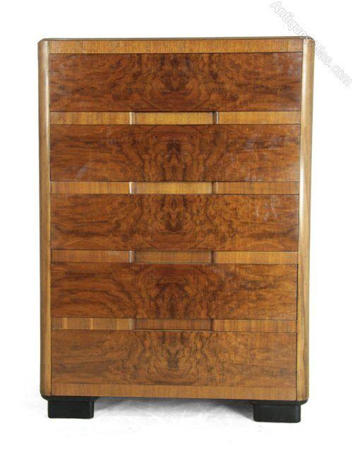 Art Deco Walnut Chest Of Drawers Kling Factories Art