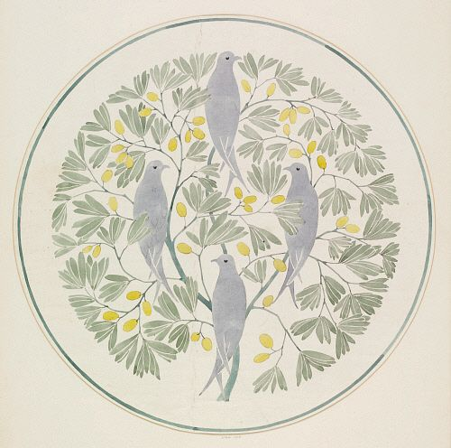Birds and olives wallpaper design, by C.F.A.Voysey. England, early 20th century