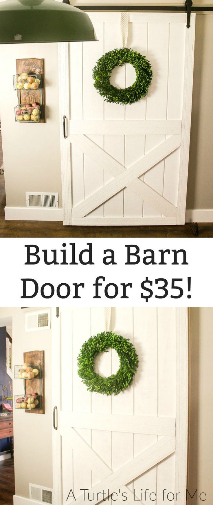 How to Build a DIY barn door for cheap! This is a super easy tutorial that doesn't even include that many cuts and comes together in an afternoon!