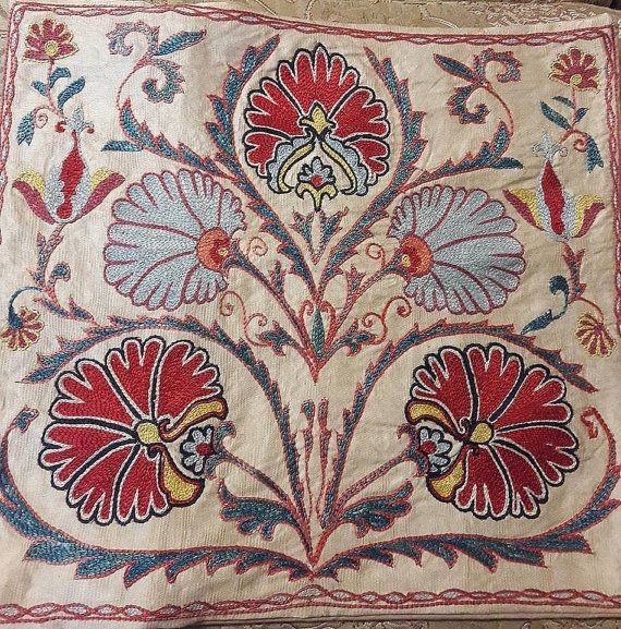 Uzbek handmade  silk on silk pillow by SuzaniUzbekistan on Etsy