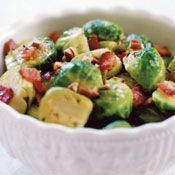 Braised Brussels Sprouts with Bacon and Pecans, Recipe from Cooking.com