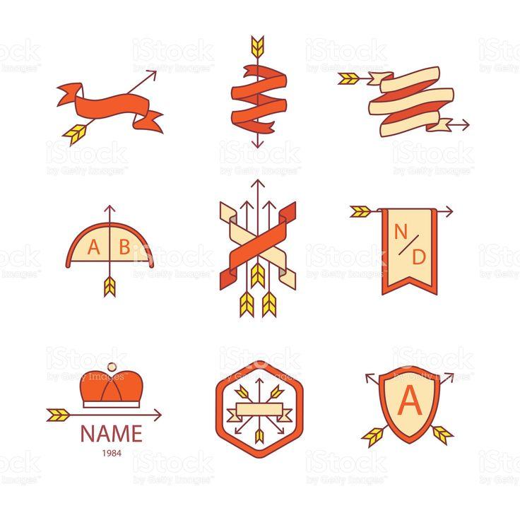 Freccia ribbon logo e icona set di icone sottile linea Illustrazione 77361799 - iStock