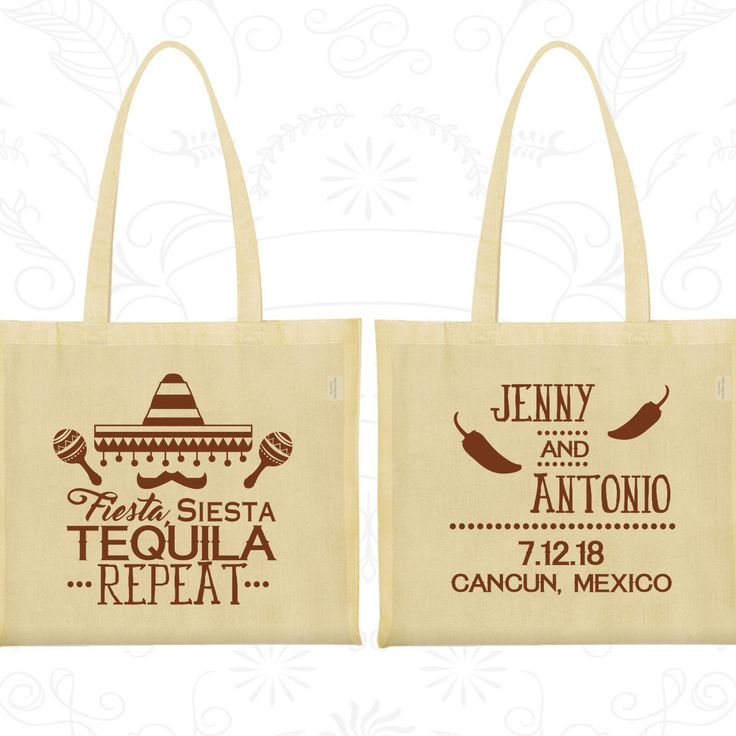 Fiesta Siesta Tequila Repeat Wedding Favor Tote Mexican Bags Mexico Party