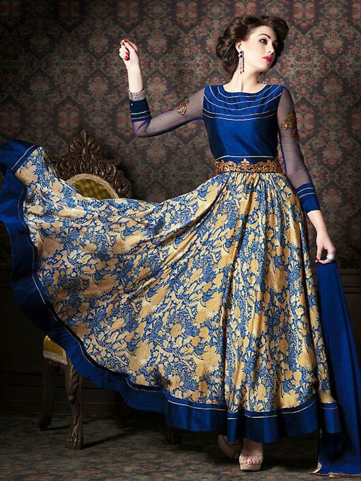 Blue Satin Churidar #Designer #Anarkali #Suit with Dupatta