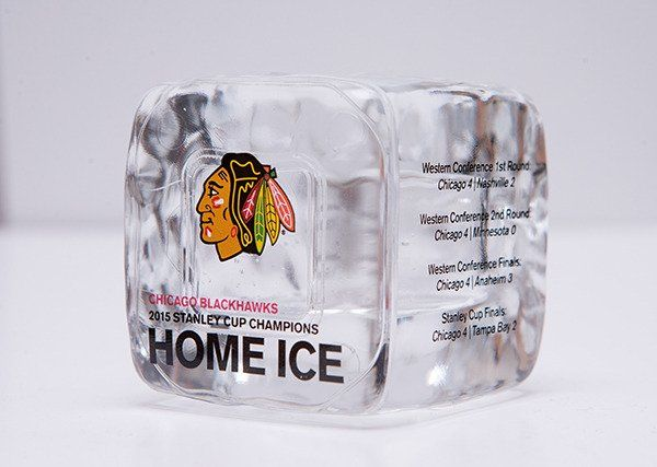 Own a piece of history with these limited-edition, certified ice cubes from the 2015 #StanleyCup victory! These are on sale today at the #Blackhawks Store!