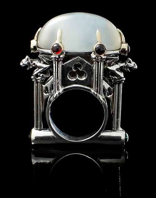 William Llewellyn Griffiths Ring: Moonstone Cathedral, 2003 9ct yellow gold, sterling silver, moonstone, garnet, tourmaline