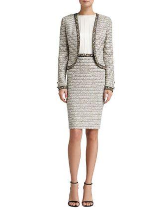Ribbon Stripe Knit Bolero Jacket & Ribbon Stripe Knit Dress with Satin Bodice by St. John Collection at Neiman Marcus.