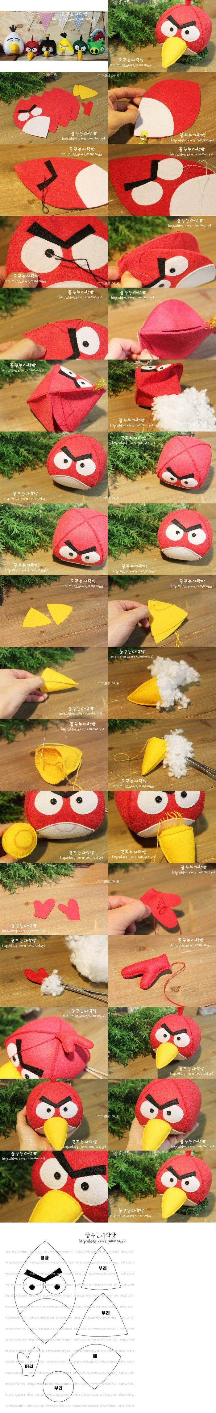 Angry Birds~没有玩过愤怒的小鸟游戏·也听过它的大名吧·不织布的各种妙用·Angry Birds公仔篇·6-1~ 红色小鸟(红火)