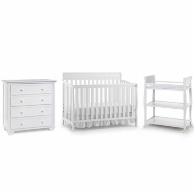 Graco Cribs 3 Piece Nursery Set Stanton Convertible Crib Sarah Changing Table And Portland 4 Drawer Dresser In White 569 Furniture