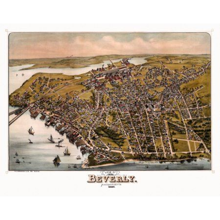 Vintage Map of Beverly Massachusetts 1886 Essex County Canvas Art - (18 x 24)