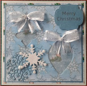 049_S14_Cut-out Decorations with Snowflake, Ribbon and Sentiment. Handmade by Diane Prinsloo (Lubbe).