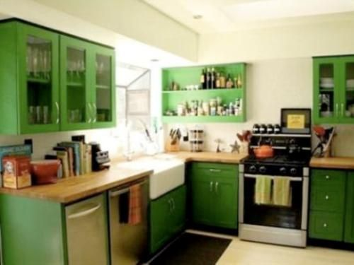 Creative Decoration In Retro Kitchen Dining Room With Green Cabinets