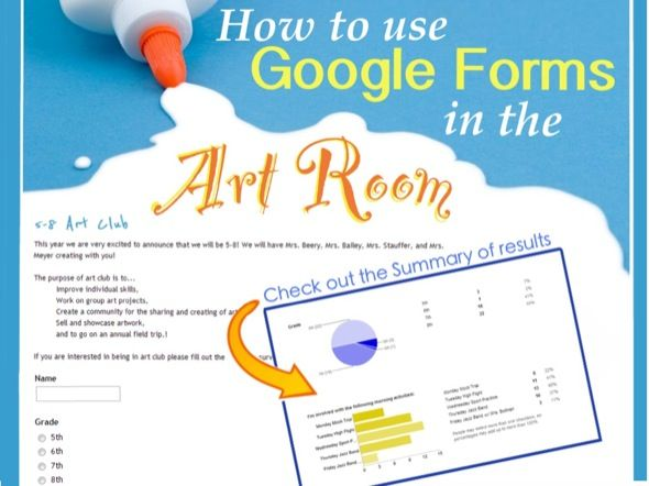 """How to use Google Forms in the Art Room  If you are looking for ways to make your art room digitized and organized in the Cloud with 'Google Drive', Google Forms is a great part of the Google Drive family.  The program is a lot like """"Survey Monkey,"""" allowing you to ask specific questions and get answers aggregated into one common place."""