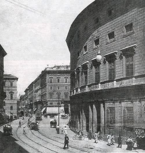 """ROMA appena l'altroieri... cose """"sparite"""" da poco... - C.so Vittorio Emanule (all'altezza di Palazzo Massimo) percorso dal tram"""