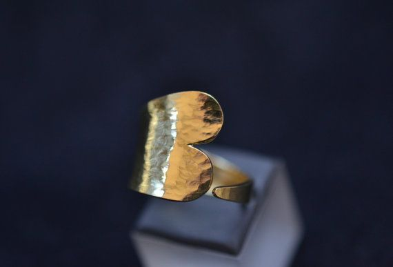 Tattoo Heart ring in hammered finish Solid 18k by ViazisJewelry