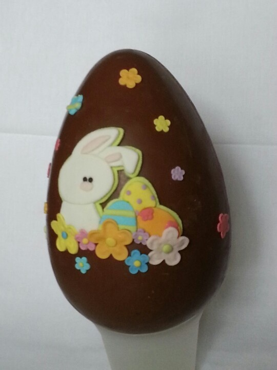easter egg with flowered bunny
