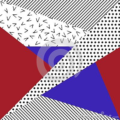 Background with geometric shapes, the design of the 80s -  illustration. In retro memphis group style card.