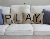 PLAY Scrabble Pillows - Inserts Included // Scrabble Tile Pillows // Letter Pillow Cushions