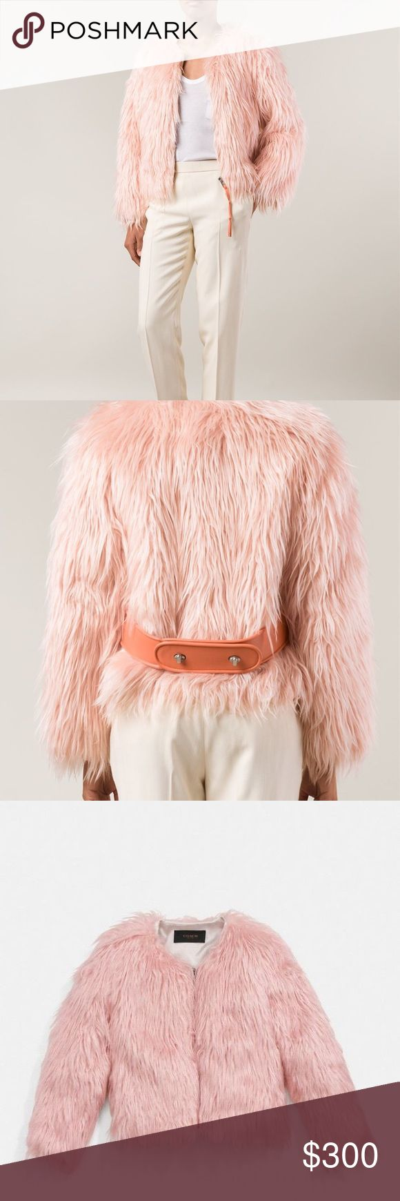 Coach Cropped Furry Jacket Beautiful pink fur jacket. Calfskin leather coral belt. I would keep this item but it is far too big on me. If you like over sized looks, it would still be cute! However the belt is heavy so it tends to dip a bit if it's too big (not a big deal). Worn very very lightly. Coach Jackets & Coats