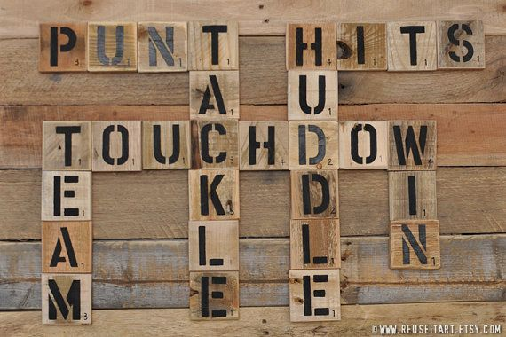 Football Enthusiast Pallet Art Word Collage Sports Room Wall Decor Choose Lustre Fine Art Print or Gallery Wrapped Canvas on Etsy, $25.00